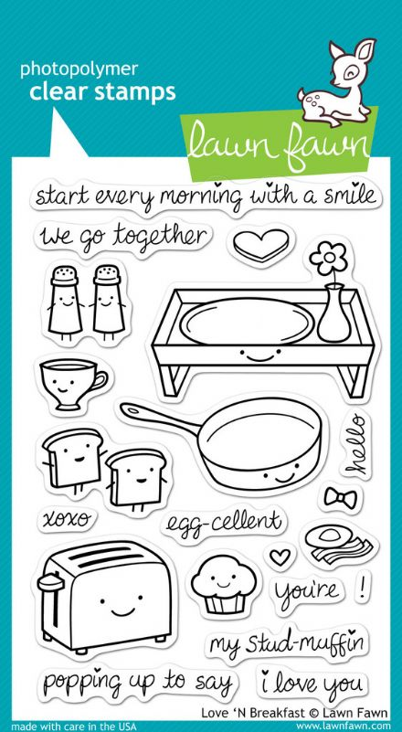 LF0365 ~ LOVE 'N' BREAKFAST ~ CLEAR STAMPS BY LAWN FAWN